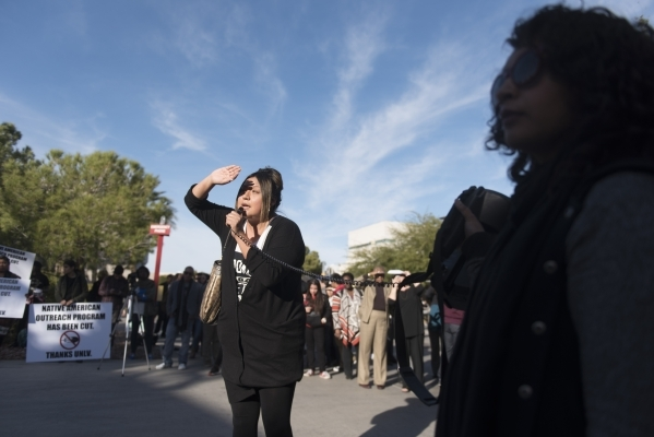 Crystal Lee, center, speaks as UNLV students hold a demonstration in front of  the Franklin J. Koch Auditorium at UNLV to show support of the University of Missouri and Yale University in the wake ...