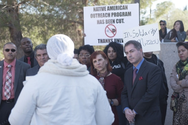 Ashley Smith, left, speaks to President Len Jessup, right, and school staff as UNLV students hold a demonstration in front of  the Franklin J. Koch Auditorium at UNLV to show support of the Univer ...