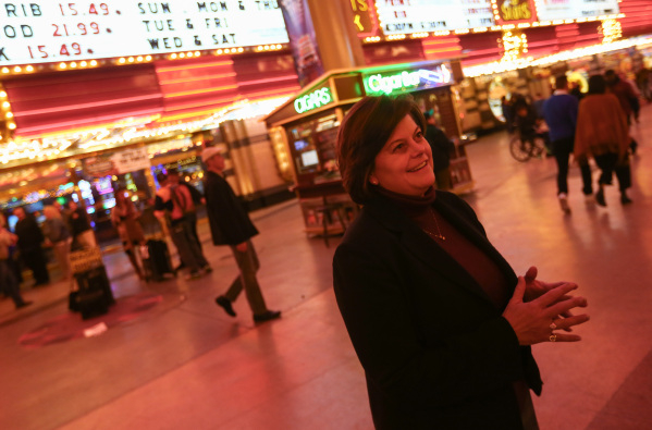Las Vegas City Manager Betsy Fretwell is shown on the Fremont Street Experience in downtown Las Vegas on Tuesday, Nov. 17, 2015. Tuesday was the first day of the city's new ordinance requiri ...