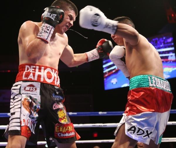 Diego De La Hoya, left, battles against Giovanni Delgado in their featherweight boxing bout at the Hard Rock casino-hotel in Las Vegas Friday, Nov. 20, 2015. Diego De La Hoya won by unanimous deci ...
