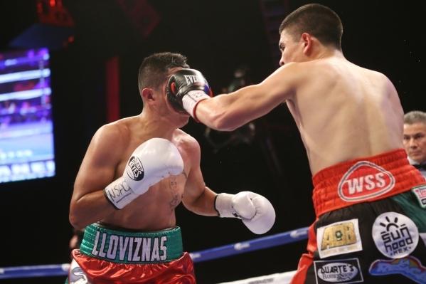 Diego De La Hoya, right, lands a left punch against Giovanni Delgado in their featherweight boxing bout at the Hard Rock casino-hotel in Las Vegas Friday, Nov. 20, 2015. Diego De La Hoya won by un ...