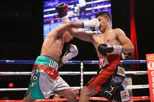 Giovanni Delgado, left, lands a right punch against Diego De La Hoya in their featherweight boxing bout at the Hard Rock casino-hotel in Las Vegas Friday, Nov. 20, 2015. Diego De La Hoya won by un ...