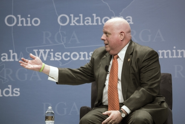 """Maryland Gov. Larry Hogan speaks during  a panel discussion titled """"2016 and the role of Republican Governors""""  at Encore on Wednesday, Nov. 18,2015.  Around 25 GOP governors are attendi ..."""