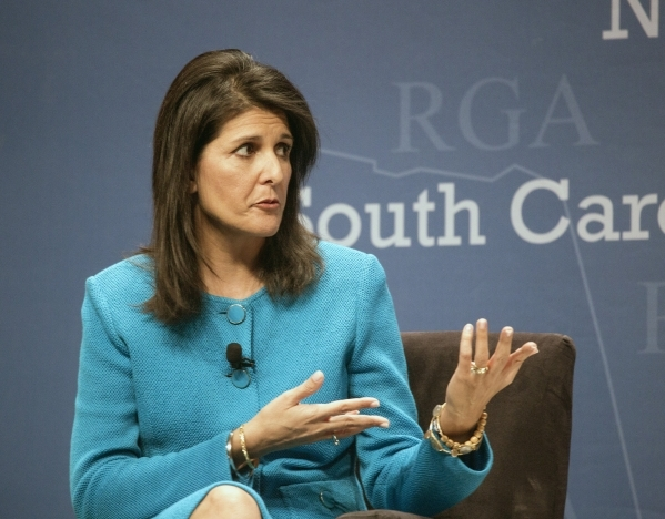 """South Carolina Gov. Nikki Haley  speaks during  a panel discussion titled """"2016 and the role of Republican Governors""""  at Encore on Wednesday, Nov. 18,2015.  Around 25 GOP governors are  ..."""
