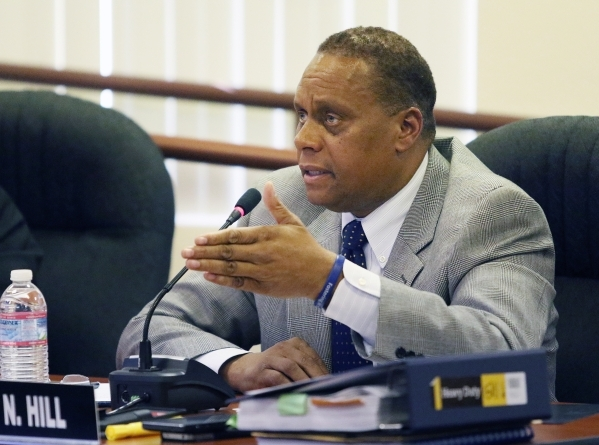 Southern Nevada Regional Housing Authority executive director John Hill speaks during a SNRHA board meeting at Howard W. Cannon Center Thursday, Nov. 19, 2015, in Las Vegas. An agenda item address ...