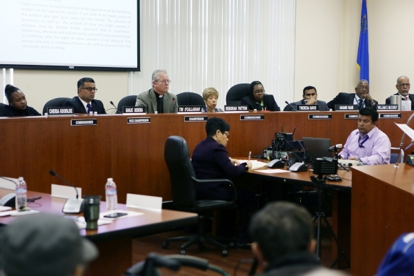 Southern Nevada Regional Housing Authority board of commissioners meets at Howard W. Cannon Center Thursday, Nov. 19, 2015, in Las Vegas. An agenda item addressed executive director John Hill&lsqu ...