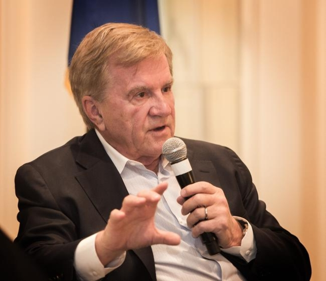 Sig Rogich, president of The Rogich Communications Group, speaks  during Newsfeed at the Four Seasons on Wednesday, Nov. 18,2015.  Also on the panel was Billy Vassiliadis, CEO and principal of R&a ...