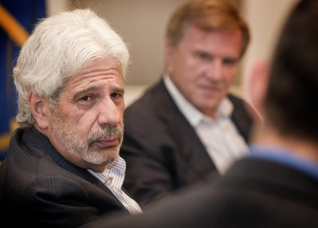Billy Vassiliadis, left, CEO and principal of R&R Partners and Sig Rogich, president of The Rogich Communications Group listens while Glenn Cook, right, Senior Editorial writer and Viewpoints  ...