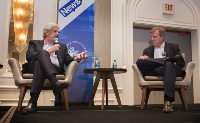 Billy Vassiliadis, left, CEO and principal of R&R Partners, and Sig Rogich, left, president of The Rogich Communications Group,  during  Newsfeed at the Four Seasons on Wednesday, Nov. 18,2015 ...