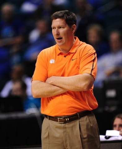 Clemson Tigers head coach Brad Brownell is seen in the second half of their NCAA basketball game against Massachusetts at the MGM Grand Garden Arena in Las Vegas  Monday, Nov. 23, 2015. Josh Holmb ...