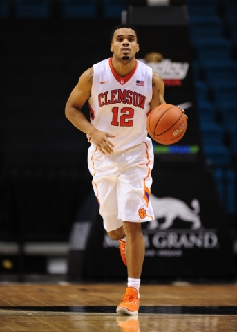 Clemson Tigers guard Avry Holmes (12) is seen in the second half of their NCAA basketball game against Massachusetts at the MGM Grand Garden Arena in Las Vegas  Monday, Nov. 23, 2015. Josh Holmber ...