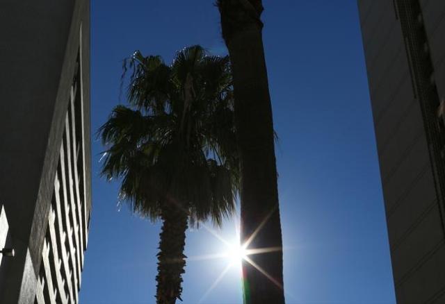 The sun shines down on the Fremont Street Experience in Las Vegas on Thursday, Nov. 19, 2015. (Brett Le Blanc/Las Vegas Review Journal) Follow @bleblancphoto