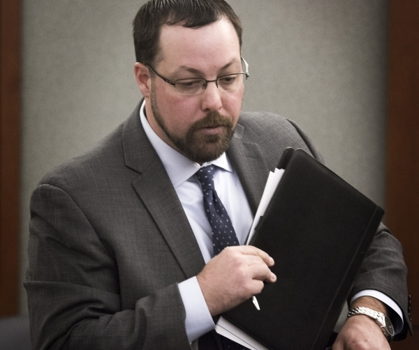 Attorney Ian Houston, representing Summer Hospital Medical Center, exits the Regional Justice Center on Tuesday, Nov. 24, 2015, after a hearing. At the hearing, District Judge Jerry Wiese said he  ...