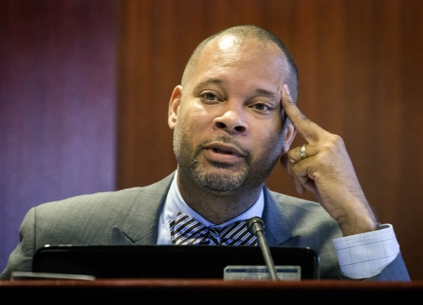 Sen. Aaron Ford (D-Las Vegas) listens during the advisory committee hearing to develop a plan to reorganize the Clark County School District at the Grant Sawyer State Office Building on Monday, No ...
