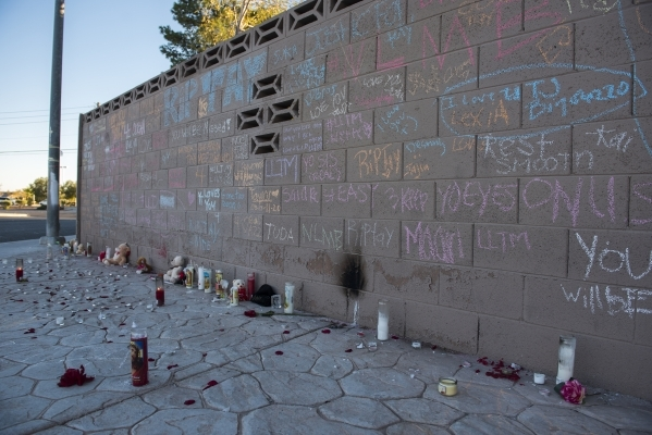 Messages and memorials to Taylor Brantley, a 16-year-old Mojave High School student killed near the school on Friday, line a block wall across the street from the school at 5302 Goldfield St. in N ...