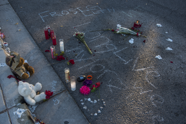 Stuffed bears and candles in memory of Taylor Brantley, a 16-year-old Mojave High School student killed near the school on Friday, line a curb near the school at 5302 Goldfield St. in North Las Ve ...