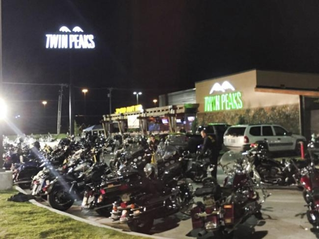 Waco Police Department photo shows police investigators at the scene at the Twin Peaks Restaurant in Waco, Texas, in this images released on May 18, 2015. Police said 170 people were arrested on M ...