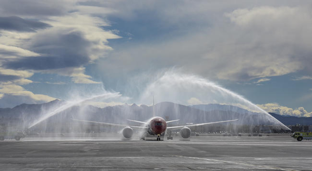 Norwegian Air's Boeing 787 Dreamliner taxis under the ceremonial water arch as McCarran International Airport and the Las Vegas Convention and Visitors Authority welcome Norwegian Air' ...