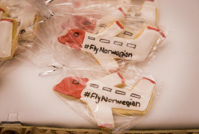 Special cookies celebrate the welcome of  Norwegian Air's first flight from Copenhagen, Denmark on Tuesday, Nov. 10, 2015 at McCarran International Airport in Las Vegas. In addition to its d ...
