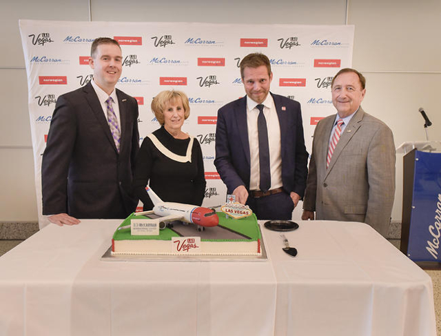 From left, Chris Jones, Public Affairs and Marketing Manager at McCarran International Airport, Clark County Commissioner Susan Brager,  Thomas Ramdahl, Chief Commercial Officer of Norwegian Air,  ...