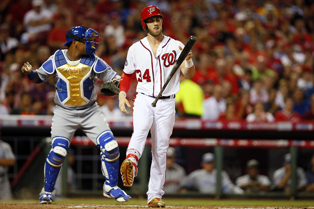National League outfielder Bryce Harper (34) of the Washington Nationals reacts after striking out against the American League during the fourth inning of the 2015 MLB All Star Game at Great Ameri ...