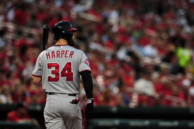 Sep 2, 2015; St. Louis, MO, USA; Washington Nationals right fielder Bryce Harper (34) walks back to the dugout after striking out during the first inning against the St. Louis Cardinals at Busch S ...