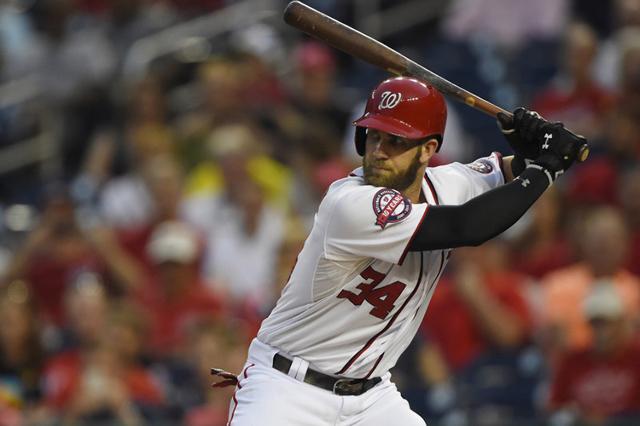 Sep 3, 2015; Washington, DC, USA; Washington Nationals center fielder Bryce Harper (34) at bat during the first inning against the Atlanta Braves at Nationals Park. (Tommy Gilligan/USA Today Sports)
