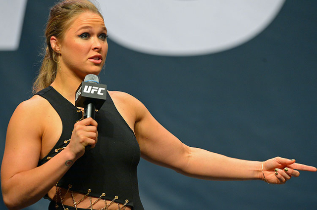 UFC Women's Bantamweight champion Ronda Rousey answers questions for fans at the MGM Grand Garden Arena on September 4. (Jayne Kamin-Oncea.USA Today Sports)