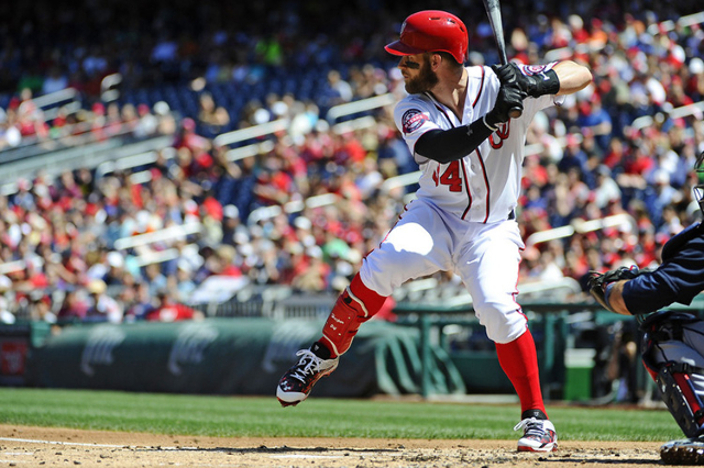 Sep 6, 2015; Washington, DC, USA; Washington Nationals right fielder Bryce Harper (34) during an at bat against the Atlanta Braves at Nationals Park. (Brad Mills/USA Today Sports)
