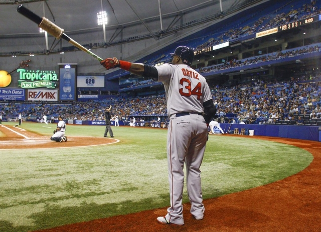 Sep 12, 2015; St. Petersburg, FL, USA; Boston Red Sox designated hitter David Ortiz (34) waits to bat during the seventh inning of a baseball game against the Tampa Bay Rays at Tropicana Field. (R ...