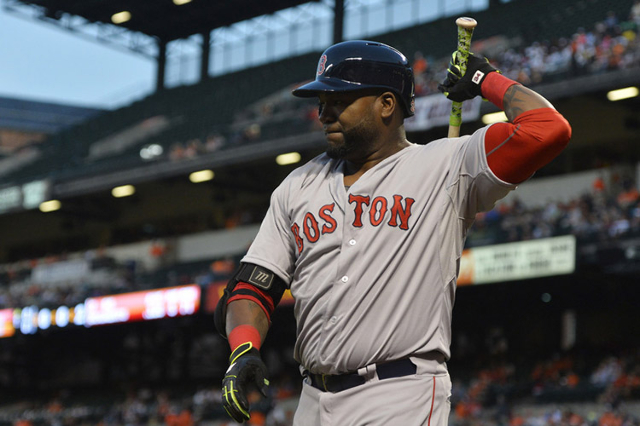 Sep 15, 2015; Baltimore, MD, USA; Boston Red Sox designated hitter David Ortiz (34) warms up in on the on-deck circle during the first inning against the Baltimore Orioles at Oriole Park at Camden ...