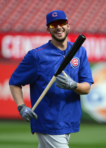 Oct 8, 2015; St. Louis, MO, USA; Chicago Cubs third baseman Kris Bryant (17) plays a round of baseball golf during NLDS workout day prior to game one of the NLDS against the St. Louis Cardinals at ...