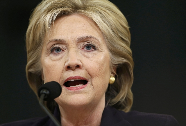 Democratic presidential candidate Hillary Clinton testifies before the House Select Committee on Benghazi, on Capitol Hill in Washington October 22, 2015. The congressional committee is investigat ...