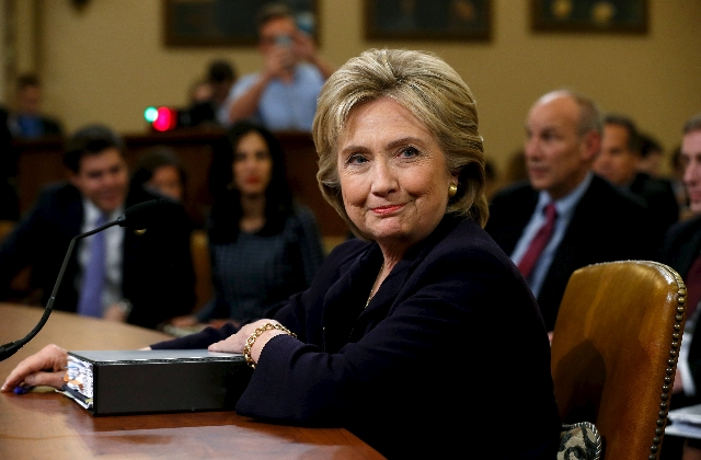 Democratic presidential candidate Hillary Clinton testifies before the House Select Committee on Benghazi, on Capitol Hill in Washington October 22, 2015. The former Secretary of State on Thursday ...