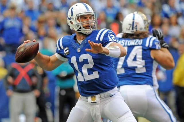 Oct 25, 2015; Indianapolis, IN, USA; Indianapolis Colts quarterback Andrew Luck (12) looks to throw a pass against the New Orleans Saints in the first half at Lucas Oil Stadium. (Thomas J. Russo/U ...