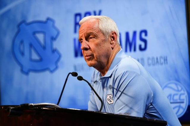Oct 28, 2015; Charlotte, NC, USA; North Carolina Tarheel coach Roy Williams during ACC media day at The Ritz-Carlton. (Jim Dedmon/USA Today Sports)