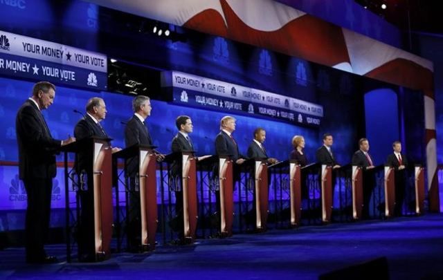 2016 U.S. Republican presidential candidates debate held by CNBC in Boulder, Colorado, October 28, 2015. (Reuters/Rick Wilking)