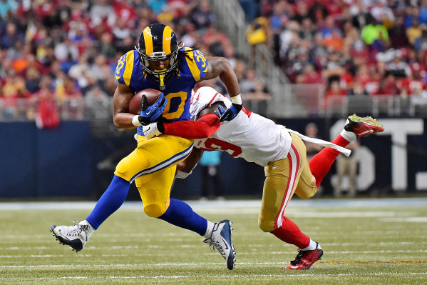 Nov 1, 2015; St. Louis, MO, USA; San Francisco 49ers strong safety Jaquiski Tartt (29) tackles St. Louis Rams running back Todd Gurley (30) during the first half at the Edward Jones Dome. Mandator ...