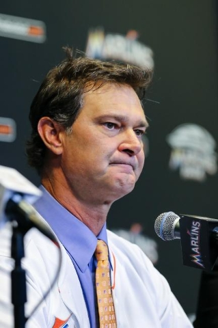 Nov 2, 2015; Miami, FL, USA; Miami Marlins manager Don Mattingly fields questions from reporters during a press conference at Marlins Park. (Steve Mitchell/USA Today Sports)