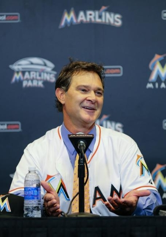 Nov 2, 2015; Miami, FL, USA; Miami Marlins manager Don Mattingly answers questions from reporters during a press conference at Marlins Park. (Steve Mitchell/USA TodaySports)