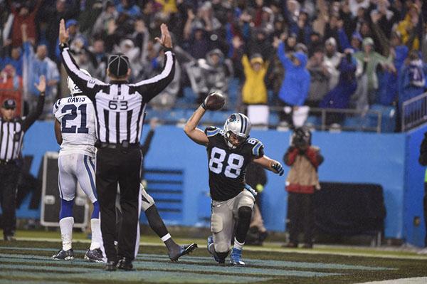 Nov 2, 2015; Charlotte, NC, USA; Carolina Panthers tight end Greg Olsen (88) reacts after scoring a touchdown in the third quarter at Bank of America Stadium. Mandatory Credit: Bob Donnan-USA TODA ...