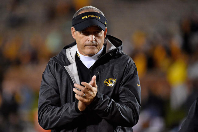 Nov 5, 2015; Columbia, MO, USA; Missouri Tigers head coach Gary Pinkel looks on prior to the game against the Mississippi State Bulldogs at Faurot Field. (Jasen Vinlove/USA Today Sports)