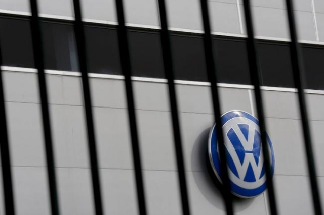 A logo of VW is pictured at a Volkswagen dealership in Camas, near Seville, southern Spain November 5, 2015. (Marcelo del Pozo/Reuters)