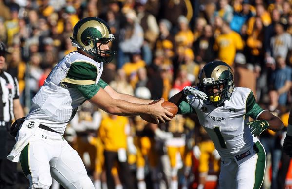 Nov 7, 2015; Laramie, WY, USA; Colorado State Rams quarterback Nick Stevens (7) fakes a handoff to running back Jack Miller (1) agains the Wyoming Cowboys during the first quarter at War Memorial  ...