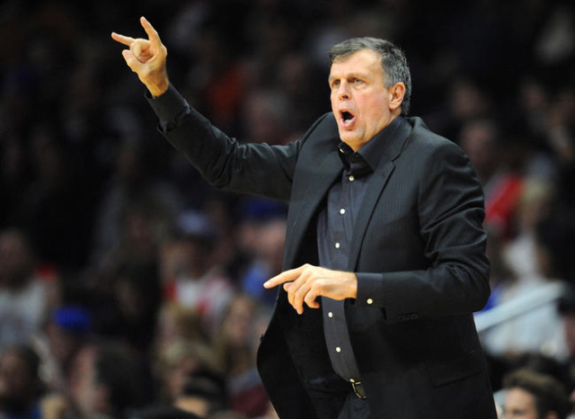 November 7, 2015; Los Angeles, CA, USA; Houston Rockets head coach Kevin McHale watches game action against Los Angeles Clippers during the first half at Staples Center. (Gary A. Vasquez/USA Today ...