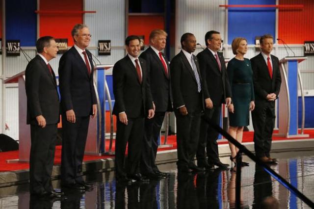 Republican U.S. presidential candidates (L-R) Governor John Kasich, former Governor Jeb Bush, U.S. Senator Marco Rubio, businessman Donald Trump, Dr. Ben Carson, U.S. Senator Ted Cruz,  former HP  ...