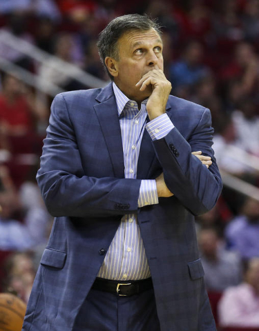 Nov 11, 2015; Houston, TX, USA; Houston Rockets head coach Kevin McHale looks up after a play during the second quarter against the Brooklyn Nets at Toyota Center. (Troy Taormina/USA Today Sports)