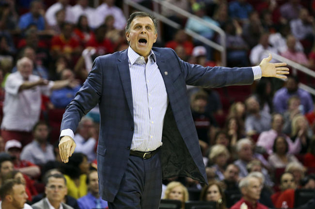 Nov 11, 2015; Houston, TX, USA; Houston Rockets head coach Kevin McHale shouts at an official after a play during the fourth quarter against the Brooklyn Nets at Toyota Center. The Nets defeated t ...
