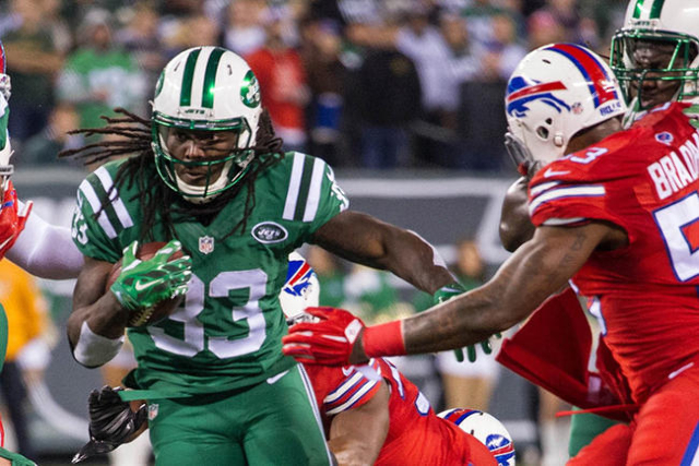Nov 12, 2015; East Rutherford, NJ, USA;  New York Jets running back Chris Ivory (33) runs with the ball during the 1st quarter against the Buffalo Bills at MetLife Stadium. Mandatory Credit: Willi ...