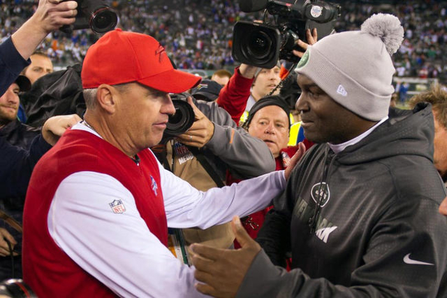 Nov 12, 2015; East Rutherford, NJ, USA;  Buffalo Bills head coach Rex Ryan shakes hands with New York Jets head coach Todd Bowles at MetLife Stadium after Bills defeated Jets 22-17. Mandatory Cred ...